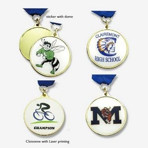 "Stock medal with domed 4-color process printed sticker (1 1/2"")"
