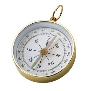 Open-Faced Brass Colored Compass